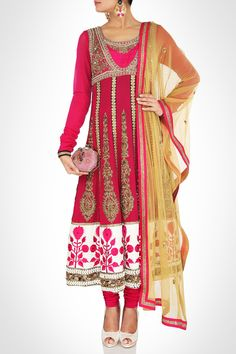 Scarlet Toned Anarkali Enriched With Zardosi Work & Rhinestones