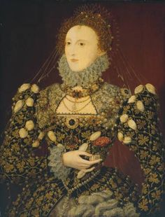 Portrait of Queen Elizabeth wearing a richly jeweled carcanet. Attributed to Nicholas Hilliard, 1575. Tate Collection. a jeweled collar or necklace, from the old French, carcan, meaning collar. Carcanets were typically quite elaborate and formal, and worn closely fitted. The style seems to have first appeared with the reemergence of the necklace during the end of the medieval period in the late 1300s.