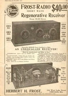 Radio News, December, 1921 Radio Vintage, Antique Radio, Vintage Tv, Radio Wave, Old Time Radio, Record Players, Old Ads, Ham Radio, Tv On The Radio
