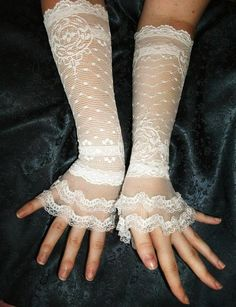 Items similar to Bachelorette ivory lace cuffs ivory lace gloves French lace cuffs bridal lace cuffs bridal lace gloves victorian cuffs wedding gloves on Etsy Steampunk Wedding Themes, Victorian Wedding Themes, Steampunk Wedding Dress, Steampunk Theme, Steampunk Fashion, Steampunk Gloves, Steampunk Couture, Lace Cuffs, Lace Gloves