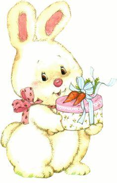 Pâques lapin et cadeau