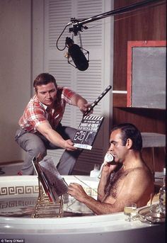 "Behind the scenes 1971 photo of Sean Connery filming a Las Vegas bathtub scene for ""Diamonds Are Forever""."