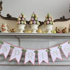❥ Easter Spring mantle decor