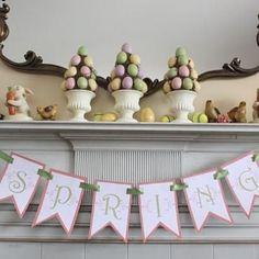 ❥ Easter Spring mantle decor