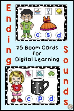 Ending Sounds With Boom Cards For Distance Learning Kindergarten Curriculum, Kindergarten Reading, Teaching Reading, Literacy, Learning, Beginning Reading, Beginning Sounds, First Grade Reading, Number Line Activities