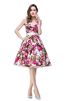 2097ad533f0 Women s 1950s Retro Vintage Floral Sleeveless Party Swing Dress at Amazon  Women s Clothing store