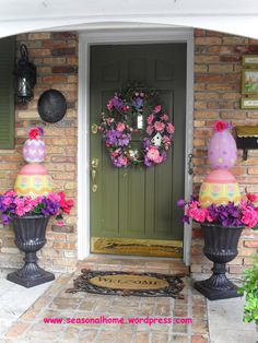 EASTER EGG TOPIARY,  8″ & 14″ Chinese egg lanterns,   styrofoam to the inside of my planters,   PVC pipe,   glue gun,   white-wire Christmas lights,   floral pins,
