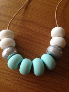 Polymer clay necklace, Mint ice/ lilac ice
