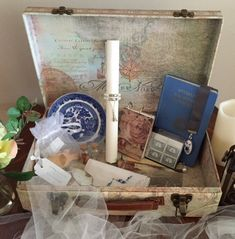 Unique Story Gift Box filled with Vintage and Handmade Treasures - A Story of Emily Letterhead Paper, Message Of Encouragement, Glass Bottles With Corks, Dried Rose Petals, Ribbon Bookmarks, Ceramic Pendant, Vintage Plates, Blue Ribbon, As You Like