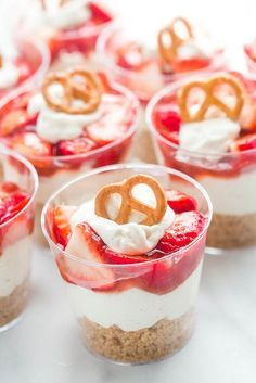 Strawberry Pretzel Yogurt Salad Cups. Everyone's favorite summertime salad is now an easy-to-eat, easy-to-share side dish. With a pretzel crust, creamy yogurt center and sweet strawberry topping, this one's perfect for parties!