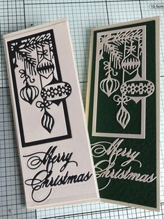 Black/cream Christmas cards by Deb Hallett Craftwork Cards Christmas, Cas Christmas Cards, Diy Christmas Baubles, Homemade Christmas Cards, Handmade Christmas, Holiday Cards, Christmas Decorations, Beautiful Christmas Cards, Cards Made With Unbranded Dies