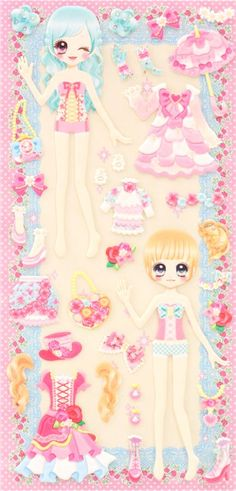 Japanese kawaii girls dress up doll puffy sponge stickers 'flower ribbon' 5