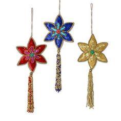 Handmade Beaded Sequin Colorful Christmas Ornaments (3) - Poinsettia | NOVICA