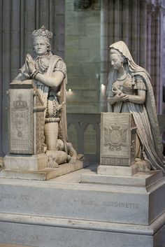 Sculptures of Louis XVI (1754-1793) and Marie-Antoinette (1755-1793), whose remains were exhumed and transferred to Basilica of St Denis in January 1815 by Louis XVIII