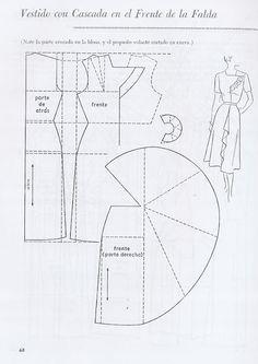 Vestido con Cascada en el Frente de la Falda
