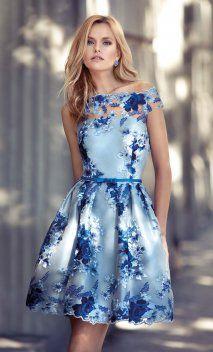 Vestido CARLA RUIZ Vuelo Azul Bordado