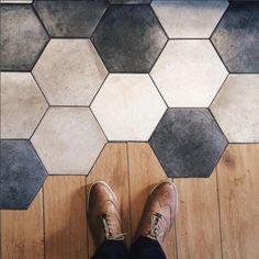 Floor Design, House Design, Interior Architecture, Interior Design, Hexagon Tiles, Living Room Flooring, Home Reno, Home Projects, Living Room Designs