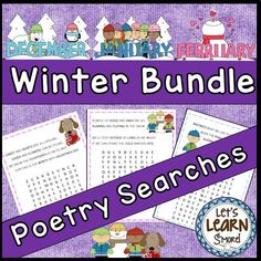 Winter Bundle Poetry Searches, Poetry Searches, February, Valentines Day, Snow, Presidents Day, Groundhog, Icicles, Hot Cocoa, Winter, January, Winter, Martin Luther King, Cold, Ice Skating, Sledding, Seasons, Igloos, Christmas, December, Winter, Polar Bears, Cookies, Snowman, Snow, and Gifts are the topics of these 24 poems and easy word searches. #poetry #wordsearches #winter #kindergarten Winter Activities, Classroom Activities, Easy Word Search, Online Music Lessons, Poetry For Kids, Teaching Phonics, Teaching Resources, Cold Ice, Little Learners