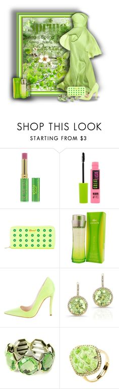 """""""Green Dresses and Nature"""" by sarahguo ❤ liked on Polyvore featuring Lela Rose, Tata Harper, Maybelline, Muveil, Lacoste, Christian Dior and Anne Sisteron"""