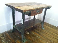 Repurposed Reworked Industrial Vintage Workbench with Drawer for Island or Bar Workbench With Drawers, Industrial Workbench, Work Benches, Surf Shack, Repurposed Furniture, Studio Apartment, Vintage Industrial, Tablescapes, Man Cave