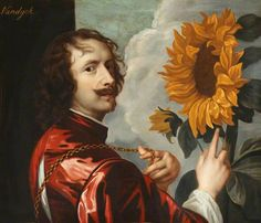 After Anthony van Dyck (1599-1641) - Self-portrait with sunflower, 1635-36