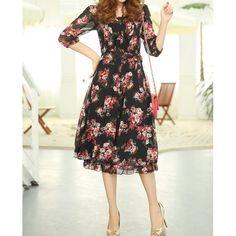 Bohemian Floral Print High Waist Chiffon 3/4 Sleeves Scoop Neck Women's Dress, BLACK, L in Bohemian Dresses | DressLily.com