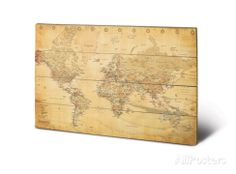 World Map (Vintage Style) Wood Sign Wood Sign - AllPosters.co.uk