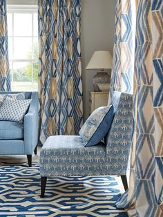 Fabrics from the Jane Churchill Eden Collection Blue Cushions, Chair Cushions, Patterned Chair, Blue Space, Custom Drapes, Contemporary Home Decor, Curtains With Blinds, Color Stories, Fabric Decor