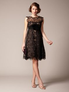 Marchesa Couture Lace Scallop Overskirt Dress