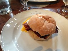 Egg and bacon sandwich on a delicious bun @ Colbert #aliceincarnaval #dogfriendly #brunch #chelsea