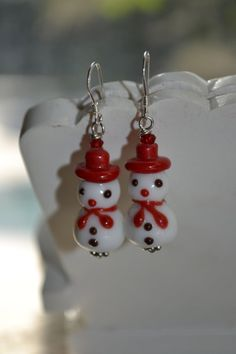 Dainty Snowman Lamp work Glass Bead Earrings by uniquebeadingbyme