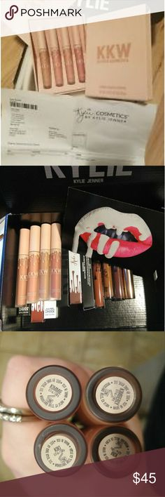 N.I.B Kylie Cosmetics kkw lipstick set Brand new sold out limited addition,unused product was only Swatch with a disposable wand( Im a makeup artist so I never use the wand w product) you will receive the complete set of the creme liquid lipsticks in the shade Kimberly, Kim, Kimmy, and koko this is by far my favorite formula that Kylie Cosmetics ever came out with it's much more hydrating than the matte liquid lipsticks but they still last long on the lips I don't know how they did it but…