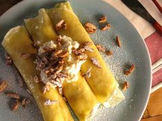 Get Meyer Lemon Ricotta Crepes with Candied Almonds Recipe from Food Network Lemon Crepes Recipe, Mascarpone Recipes, Dessert Crepe Recipe, Strawberry Crepes, Creamy Mustard Sauce, Lemon Cheese, Candied Almonds, Savory Crepes, Brunch Dishes