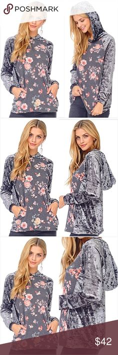 """Dreamy Silver Crushed Velvet Hoodie SML Dreamy Crushed Velvet Floral Hoodie!  Charcoal gray floral pattern front & hood lining with pockets. Silver gray crushed velvet back, sleeves & hood. Soooo soft & gorgeous!  Made in USA 95% Polyester- 5% Spandex (Stretchy)  Small 2/4/6 Bust 32-34-36 Length 26"""" Medium 6/8/10 Bust 36-38-40 Length 26.5"""" Large 10/12/14 Bust 40-42 Length 27"""" Tops"""