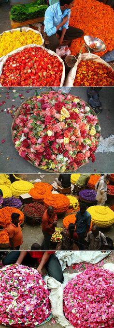 bangalore flower market, india