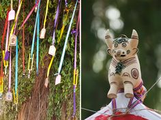 A ceramic pipe shaped like a #bull and decorations affixed to tree limbs accompany the other colorful details of a Wedding outside of #Cuzco Peru