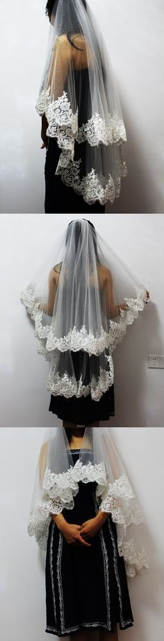 2017 New Two Layers Lace Edge Short Wedding Veil 2 Layers Tulle Bridal Veil For Wedding Dress Veu De Noiva