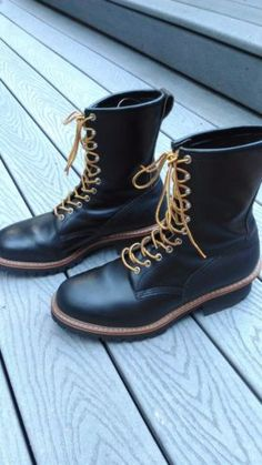 Red-Wing-Black-Logger-Boots-Made-In-USA-13-E-w-Red-Wing-Shaped-Comfort-Insole