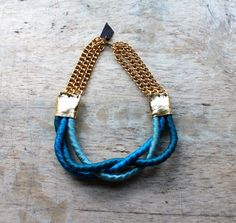 """Braided Rope Necklace Uncovet - Total length : 17 """" - 43 cm, Handmade in Berlin (gold connector piece is leather!)"""
