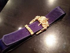 Gimoni Purple Leather belt with Gold buckle by Gimoni on Etsy