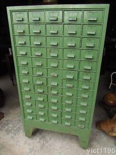 Antique Industrial 60 Drawer Metal Index Cabinet on Wheels #IndustrialAntique #unknown