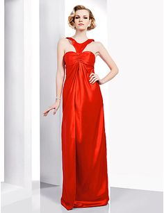 Stretch Satin Sheath/ Column Jewel Floor-length Evening Dress inspired by Dianna Agron