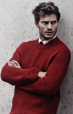 Can I just say leather never looked so good! Jamie looks fantastic in this Hugo Boss photo! He has that come hither stance and stare! 50 Shades of Christian and Ana Vintage Sweaters, Red Sweaters, Jamie Dornan, Leather Blazer, Fifty Shades Of Grey, Knitting Designs, Winter Outfits, Winter Fashion, Men Casual