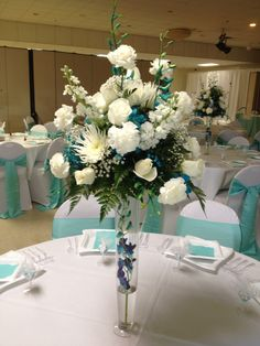 Tiffany Blue and White Wedding. Flowers to match with color scheme.