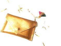 {SHIMMY SHIMMY} Tasseled Leather Card Carrier in Bronze by @shoprkitekt