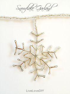 DIY beaded snowflake garland tutorial