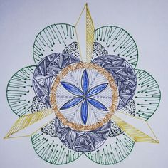 Semana 2. Mandala 1. Stabilo fine liners and gel ink pen.  For those who are gone, but lighted up the lives of others.