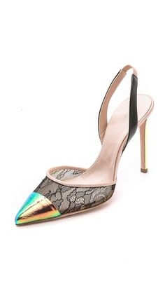 Giambattista Valli Lace & Iridescent Pumps