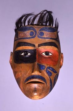 Mask Nootka (Nuu-chah-nulth) West Coast of Vancouver Island c. 1820-70 Alder, paint, human hair.  Fenimore Art Museum