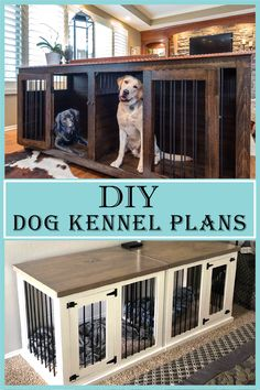 Wood Dog Crate, Diy Dog Crate, Dog Crate Furniture, Large Dog Crate, Furniture Dog Kennel, Large Dog House, Wooden Dog House, Build A Dog House, Dog House Plans